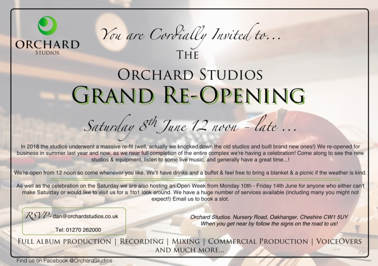 Orchard Studios Re-Opening Invitation