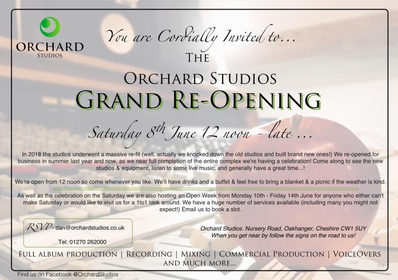 Orchard Studios Re-Opening Invitation